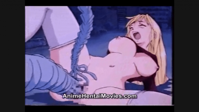 Sexy blonde hentai girl fucked by monster with big tentacles